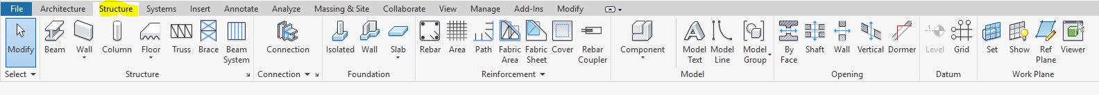 Thanh ribbon Structure chứa các toolbar button